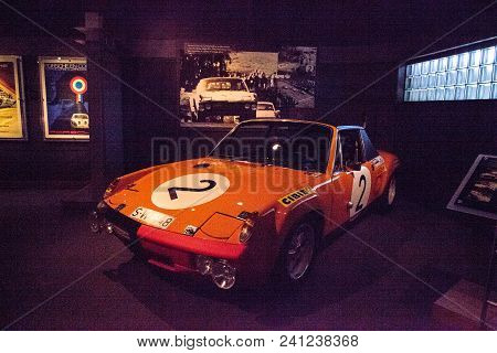 Naples, Florida, Usa - May 5, 2018:  Orange 1970 Porsche 914 Gt Displayed At The Revs Institute In N