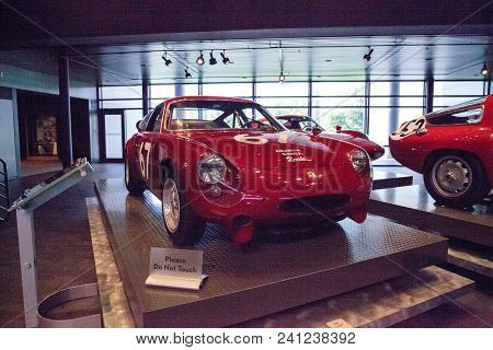 Naples, Florida, Usa - May 5, 2018:  Red 1964 Abarth Simca 2 Mila Corsa 2000 Gt Displayed At The Rev