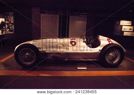 Naples, Florida, Usa - May 5, 2018:  Silver 1939 Mercedes Benz W154 Displayed At The Revs Institute