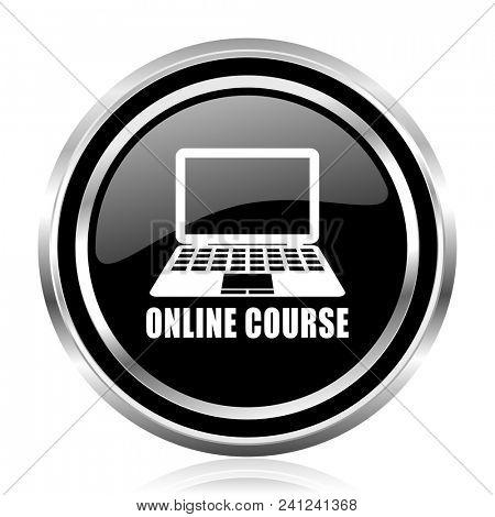 Online course black silver metallic chrome border glossy round web icon