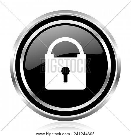 Padlock black silver metallic chrome border glossy round web icon