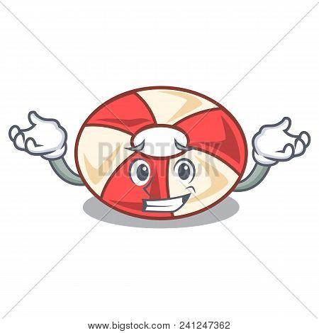 Grinning Swim Tube Character Cartoon Vector Illustration