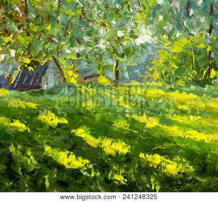 Flowers Field Painting. The Endless Summer Field Of Yellow Orange Flowers, Blue Sky And Big Clouds O