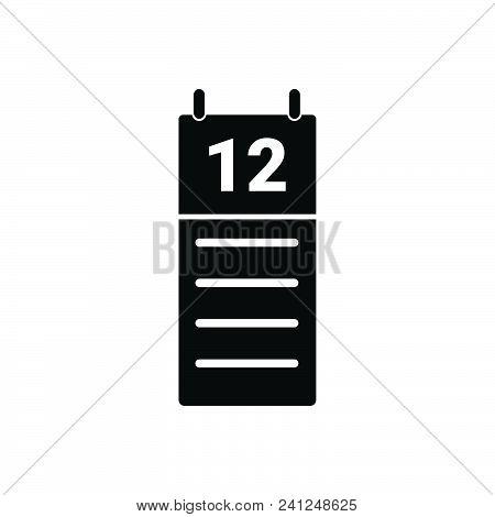 Calendar Agenda Vector Icon On White Background. Calendar Agenda Modern Icon For Graphic And Web Des
