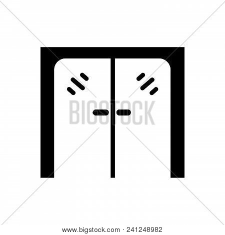Glass Door Vector Icon On White Background. Glass Door Modern Icon For Graphic And Web Design. Glass