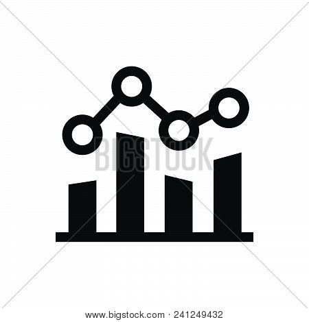 Graph With Trendline Vector Icon On White Background. Graph With Trendline Modern Icon For Graphic A