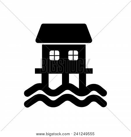 Houseboat Vector Icon On White Background. Houseboat Modern Icon For Graphic And Web Design. Housebo