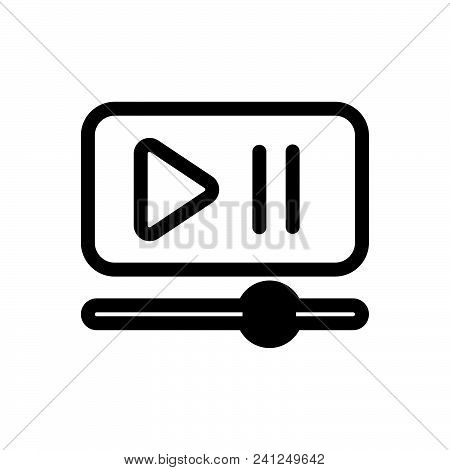 Video Player Vector Icon On White Background. Video Player Modern Icon For Graphic And Web Design. V