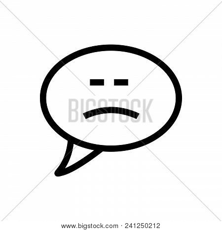 Sad Chat Bubble Vector Icon On White Background. Sad Chat Bubble Modern Icon For Graphic And Web Des