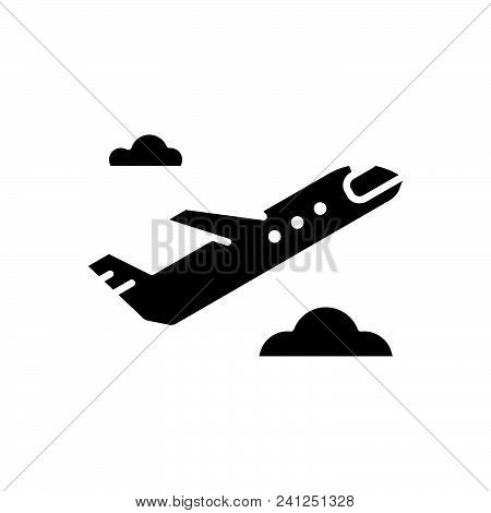 Airplane Departure Vector Icon On White Background. Airplane Departure Modern Icon For Graphic And W