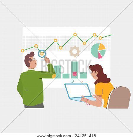 Audit And Marketing Concept. Business Adviser Financial Audit, Auditing Tax Process.flat Vector Illu