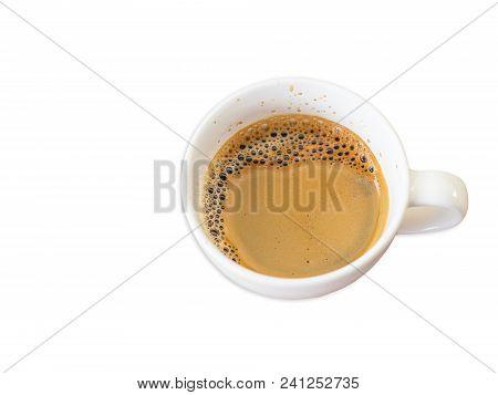 Espresso Coffee On White Background, Top View