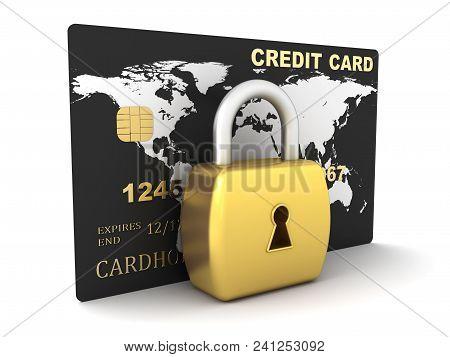 Credit Card And Lock. 3d Image Renderer