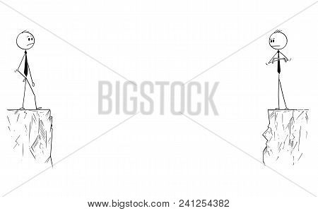 Cartoon Stick Man Drawing Conceptual Illustration Of Business Partners Or Competitors Standing Far O