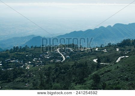Nature Landscape Mountain Forest, Morning Spring Countryside In Phu Tub Berk, Thailand