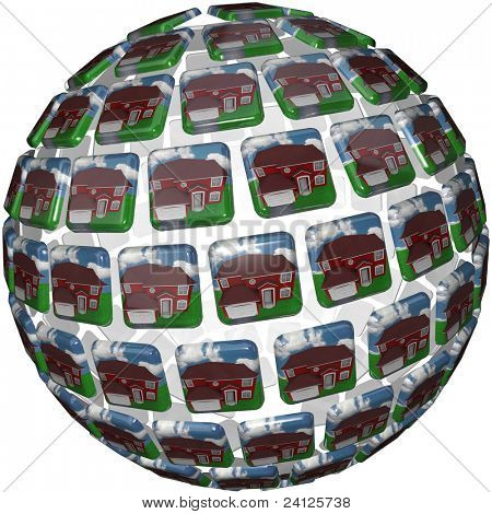 A sphere shape showing similar red homes with grass and blue skies symbolizing a peaceful society in a neighborhood such as suburbia