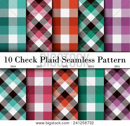 Set 10 Check Plaid Seamless Pattern In  Lime Green, Pink, Orange, Green And Violet. Template For Clo
