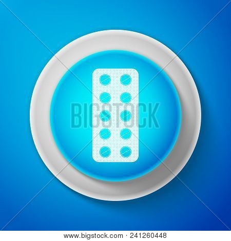 White Pills In Blister Pack Icon Isolated On Blue Background. Medical Drug Package For Tablet: Vitam
