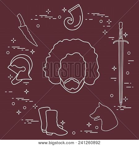 Symbols And Heroes Of The Popular Fantasy Television Series. Art And Cinema Theme.