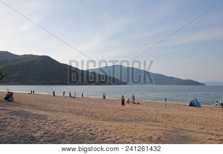 Fukui Japan - May 05, 2018: Unidentified People Visit Kehi No Matsubara Beach Fukui Japan