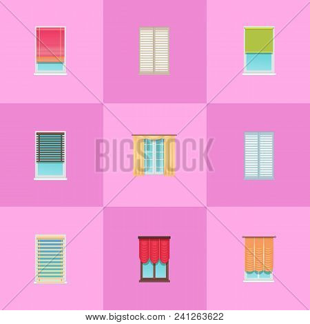Curtains And Jalousies Made Of Textile And Thin Planks On Large Plastic Windows Isolated Cartoon Fla