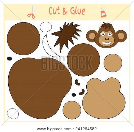 Education Paper Game For The Development Of Preschool Children. Cut Parts Of The Image And Glue On T