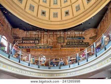 Boston - July 11: People Visit Famous Quincy Market On July 11, 2017 In Boston. Quincy Market Dates