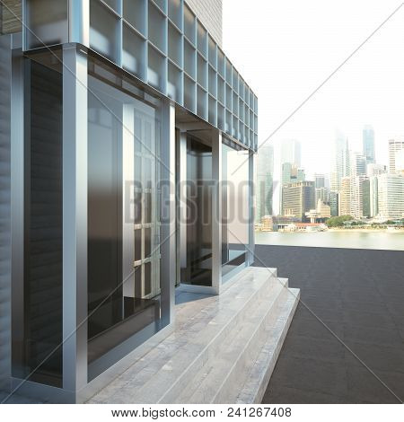 Side View Of Modern Glass Storefront Exterior On City Background. 3d Rendering