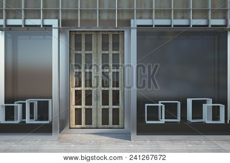 Contemporary Glass Storefront Exterior With Copy Space. Fashion And Ad Concept. Mock Up, 3d Renderin