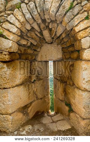 Embrasure (shooting Split) In The Wall Of Nimrod Fortress, A 13th Century Muslim Castle In Northern