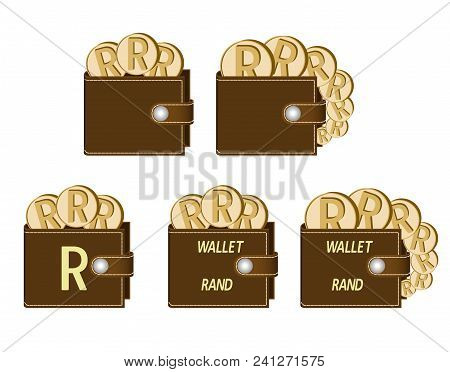 Set Of Brown  Wallets With Rand Coins On A White Background , Currency In The Wallet,sign And Symbol