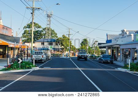 Foster, Australia - January 28, 2018: View Along Main Street In Foster, A Small Dairy And Farming To