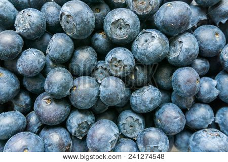 Close-up Of Fresh Blueberries For A Long Life. View From Above To Tasty Blueberries. Blueberries Wit