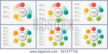 Rotating Circle Chart Templates, Infographic Designs, Visualization Concepts With 7 Options, Steps,