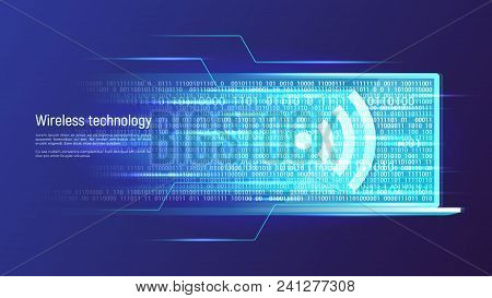 Wireless Technology And Data Transfer Concept. Vector Illustration