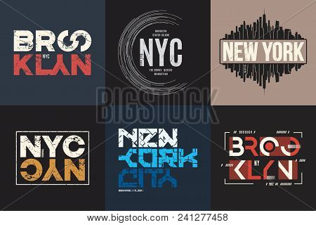 Set Of Six Vector Styled New York And Brooklyn T-shirt And Apparel Typographic Designs, Prints.