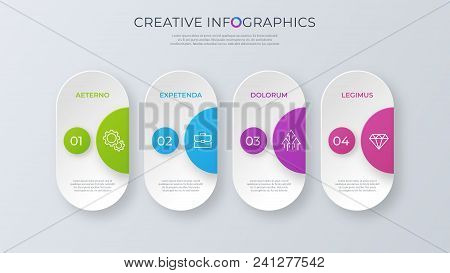 Contemporary Minimalist Vector Infographic Design With Four Options. Global Swatches.