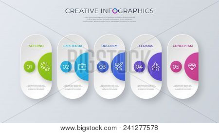 Contemporary Minimalist Vector Infographic Design With Five Options. Global Swatches.