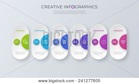 Contemporary Minimalist Vector Infographic Design With Six Options. Global Swatches.