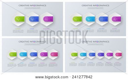 Set Of Contemporary Minimalist Vector Infographic Designs. Global Swatches.
