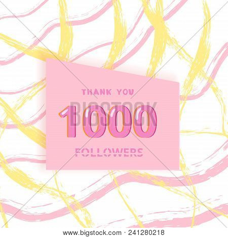 1000 followers thank you card. Cover with papercut effect and brush abstract lines. Template for social media. Vector illustration. poster