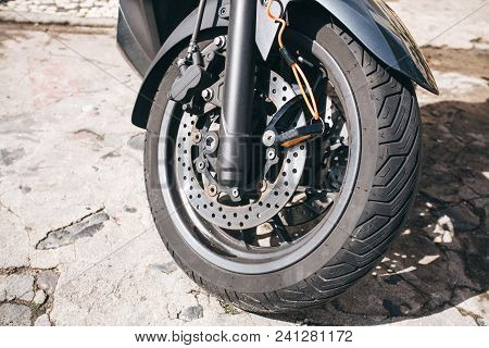Wheel Of Motorcycle Or Scooter Or Moped. Autotire Or Tire And Design Of Wheel Of Motorcycle. Brake S