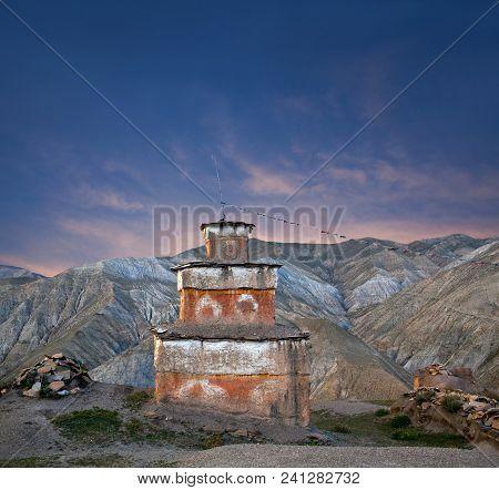 Ancient Bon Stupa In Saldang Village, Dolpo, Western Nepal. Saldang Lies In Nankhang Valley, The Mos