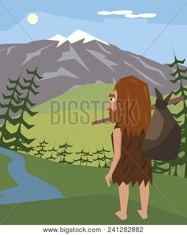 Caveman At Mountain Landscape, Neanderthal Relocating To Europe, Vector Cartoon Illustration