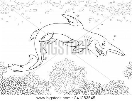 Scary Deep-see Goblin Shark With An Insidious Smile Swimming Deep In A Sea, Black And White Vector I