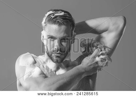 Naked Man. Wet Body And Face. Handsome Man, Sexy Macho With Muscle Torso, Muscular Bearded Hipster W