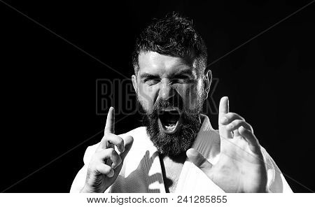 Portrait Of Self Confident Brutal Man. Strong Muscular Fitness Model Showing Competition Strength. C