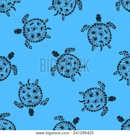 Sea Turtle Hand Drawn Seamless Repeating Pattern