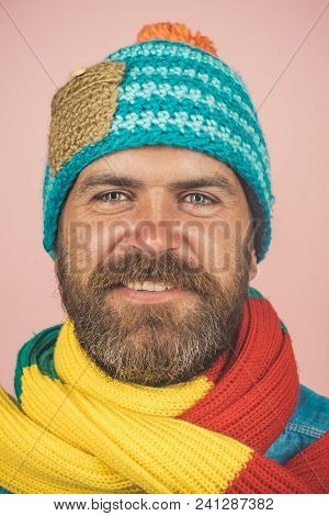 Bearded Man With Scarf And Hat In Autumn/winter Time. Men Winter Fashion. Fashionable Handsome Man I