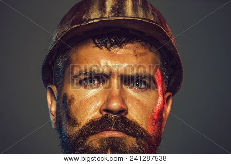 Industrial Worker. Construction Worker In Hard Hat. Builder In Protective Clothing And Helmet. Busin